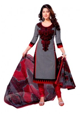 Casual Wear Red Crepe Salwar Suit - 201