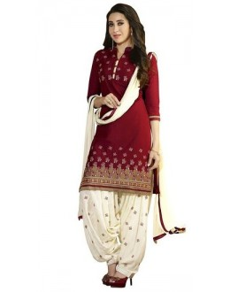 Party Wear Red Crepe Salwar Suit - 218