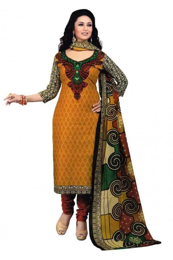 Casual Wear Multicolour Crepe Salwar Suit - 211