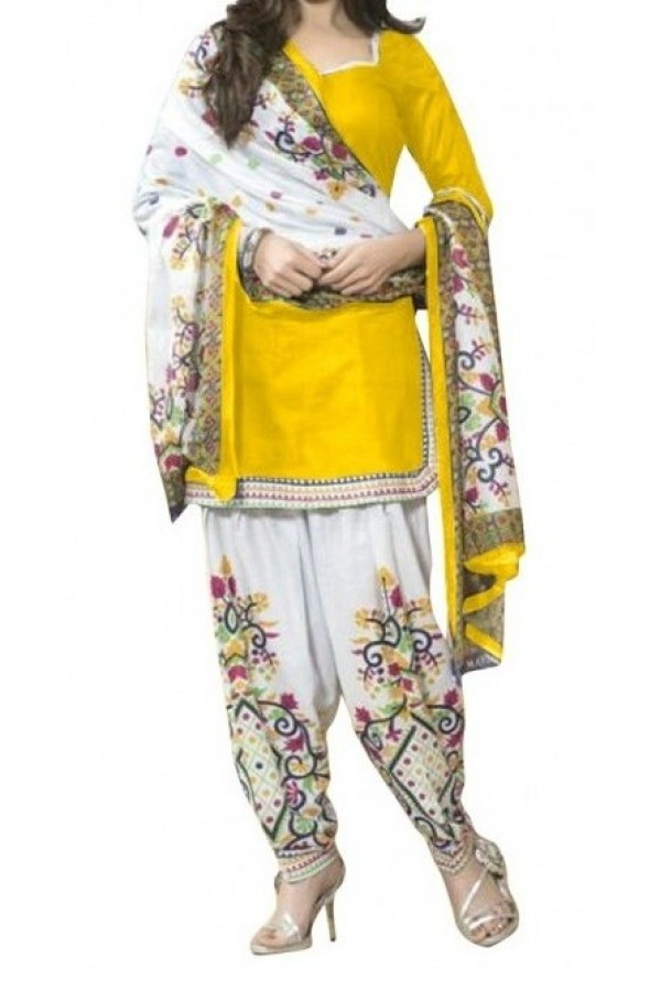 Casual Wear Yellow Crepe Salwar Suit - 231