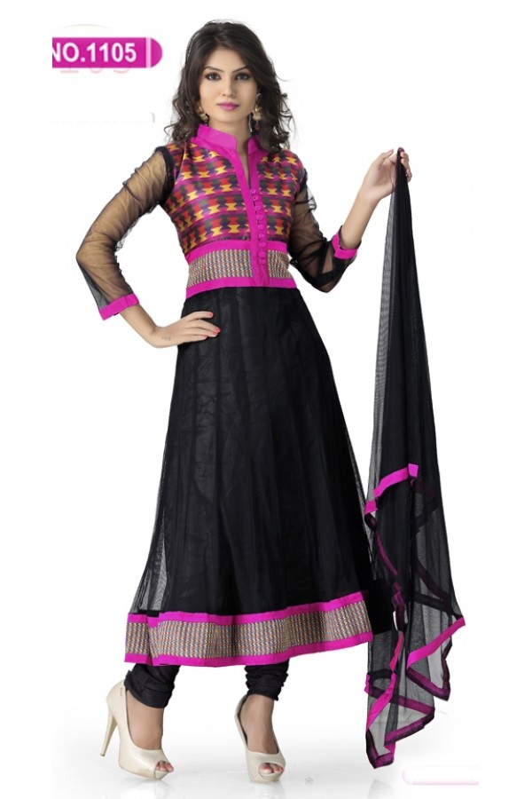 Bollywood Replica - Traditional Black Anarkali Suit   - 1105