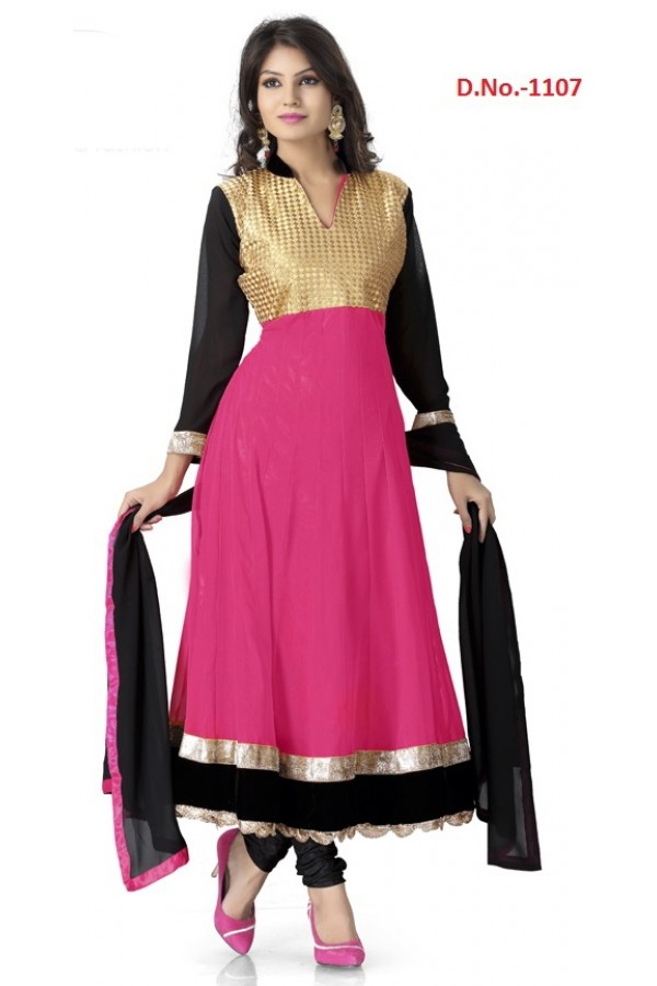 Bollywood Replica - Traditional Pink Anarkali Suit   - 1107