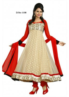 Bollywood Replica - Traditional Beige Anarkali Suit   - 1108