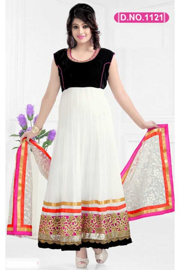 Bollywood Replica - Designer White Anarkali Suit   - 1121