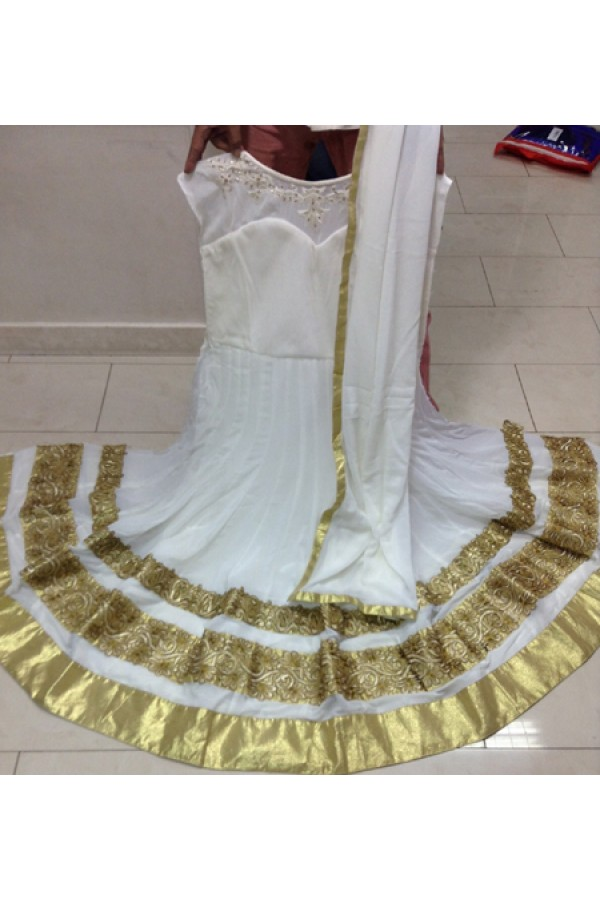 Bollywood Replica - Traditional White Anarkali Suit   - 1148
