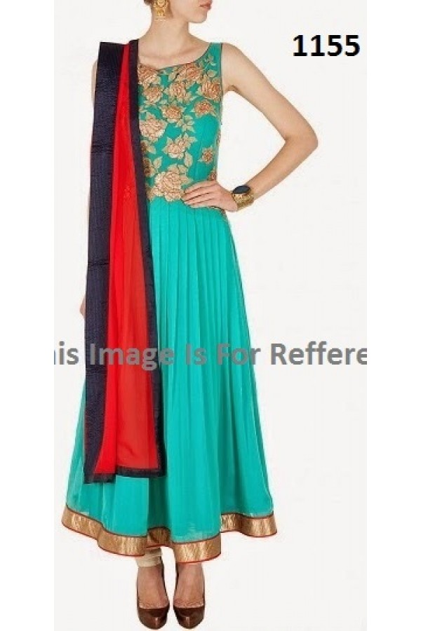 Bollywood Replica - Party Wear Green Anarkali Suit   - 1155