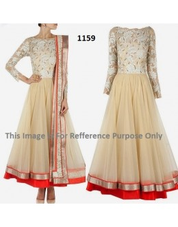 Bollywood Replica - Designer Cream Anarkali Suit   - 1159