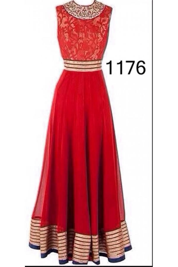 Bollywood Replica - Fancy Red Anarkali Suit   - 1176