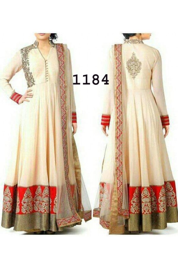 Bollywood Replica - Designer Cream Anarkali Suit   - 1184