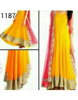 Bollywood Replica - Traditional Yellow Anarkali Suit   - 1187