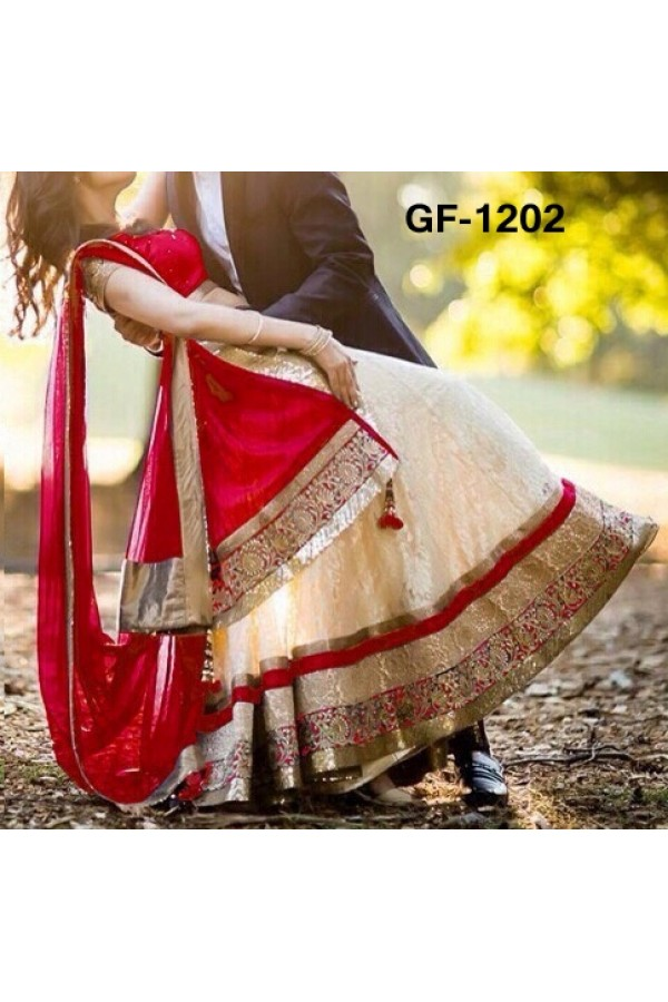 Bollywood Replica - Designer Cream Lehenga Choli -  1202
