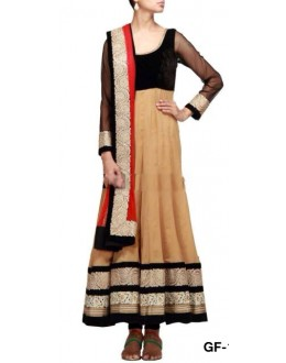 Bollywood Replica - Designer Black & Beige Anarkali Suit   - 1207