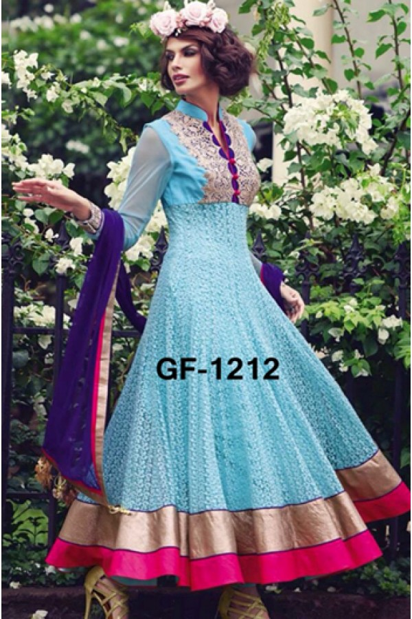 Bollywood Replica - Designer Sky Blue Anarkali Suit   - 1212