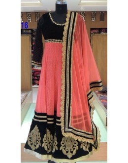 Bollywood Replica - Designer Peach & Black Anarkali Suit   - 1216