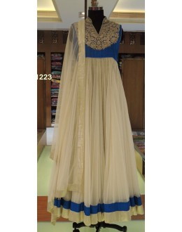 Bollywood Replica - Designer Beige & Blue Anarkali Suit   - 1223