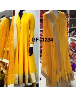 Bollywood Replica - Designer Yellow Anarkali Suit   - 1234