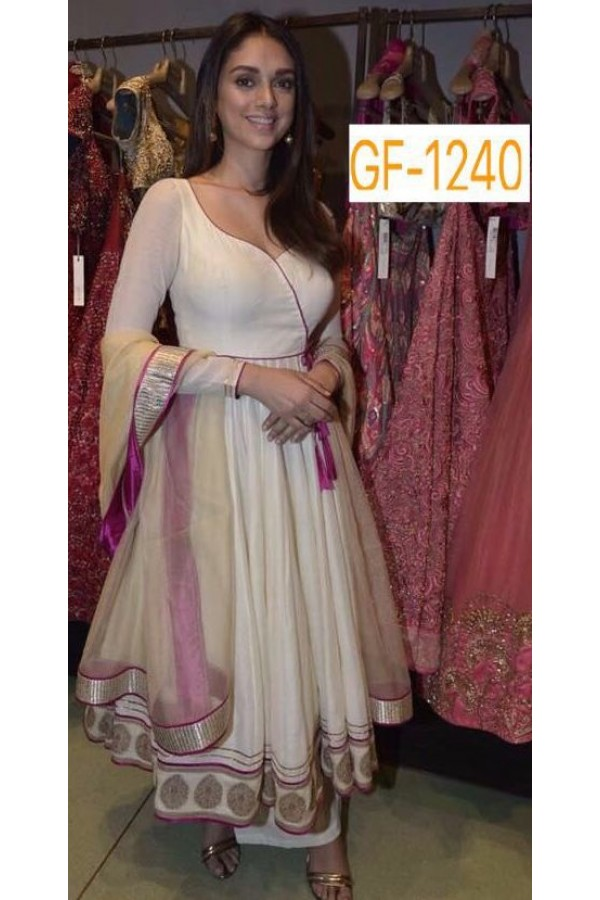 Bollywood Replica - Designer Cream Anarkali Suit   - 1240