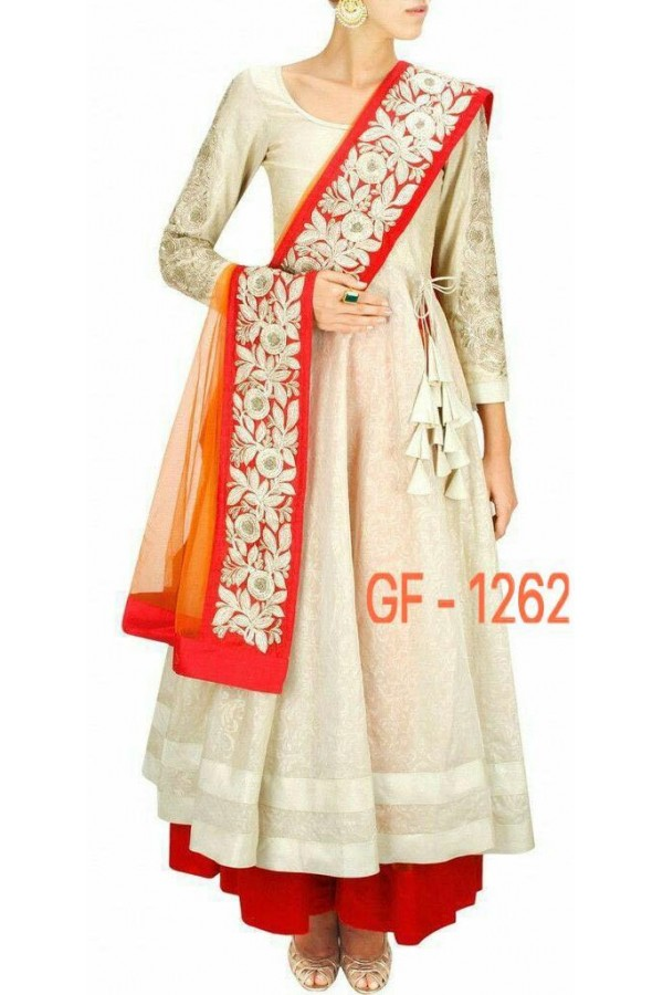 Bollywood Replica - Fancy Cream Anarkali Suit   - 1262