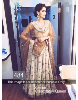 Bollywood Replica -  Sonam Kapoor Designer Beige & Brown  Lehenga Choli - 484 ( MJ-400 )