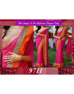 Bollywood Replica - Party Wear Pink Border Work Saree - 9711