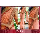 Bollywood Replica - Party Wear Peach Georgette Saree - 9716