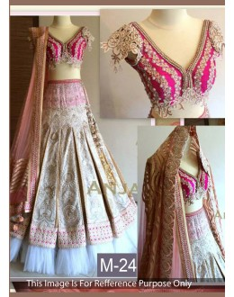Bollywood Replica -  Bridal Wear Pink Embroidered Lehenga Choli - 3305 ( MJ-3300 )
