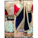 Bollywood Replica - Wedding Wear Beige & Blue Embroidered Velvet & Net  Saree - NX-9 ( MJ-NX )