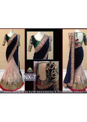 Bollywood Replica - Wedding Wear Multi-Colour Embroidered Velvet & Net  Saree - NX-7 ( MJ-NX )