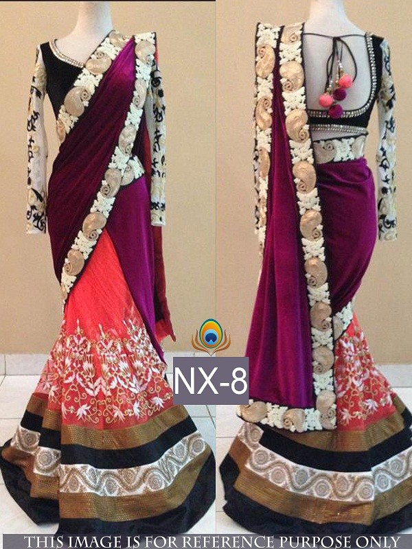 Bollywood Replica - Wedding Wear Multi-Colour Embroidered Velvet & Net  Saree - NX-8 ( MJ-NX )