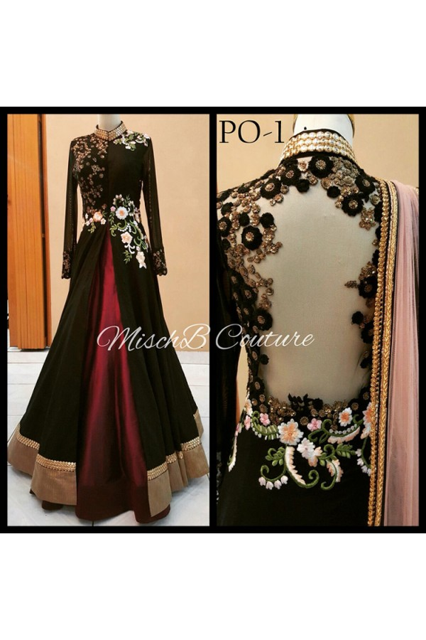 Bollywood Replica - Wedding Wear Black Indo-Western Lehenga Suit - PO-01