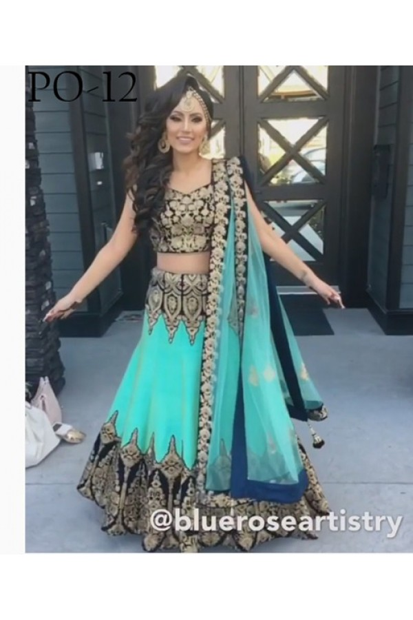 Bollywood Replica - Wedding Wear Blue Silk Lehenga Choli - PO-12