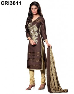Ethnic Wear Brown Cambric Cotton Salwar Suit - CRI3611