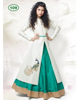 Kids Wear Off White & Green Indo Western Lehenga Suit - KDS109