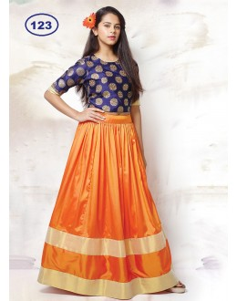 Kids Wear Designer Orange & Blue Lehenga Choli - KDS123