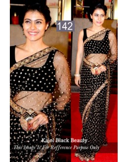 Bollywood Replica - Kajol Designer Black Net Saree - 142