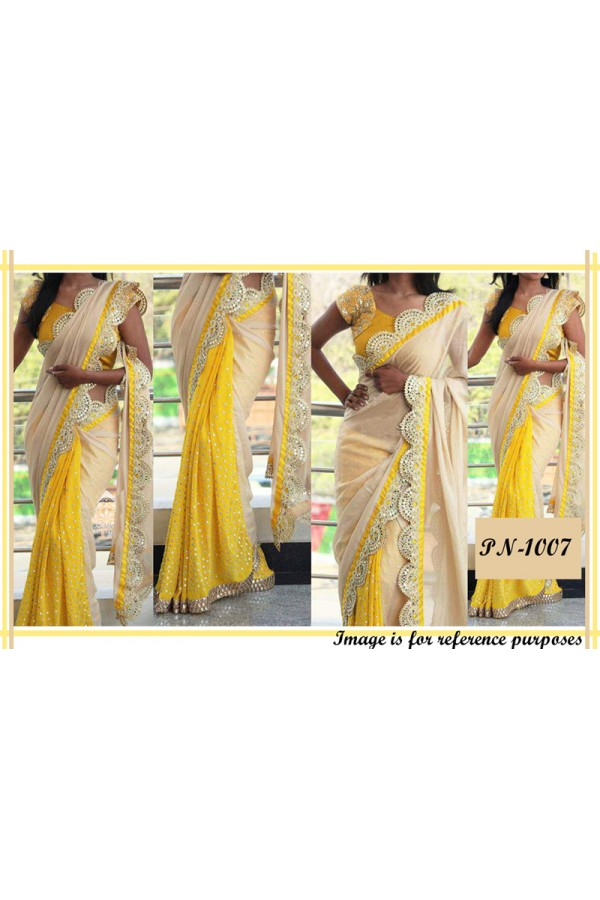 Bollywood Replica - Designer Yellow & Beige Mirror Work Saree - PN-1007