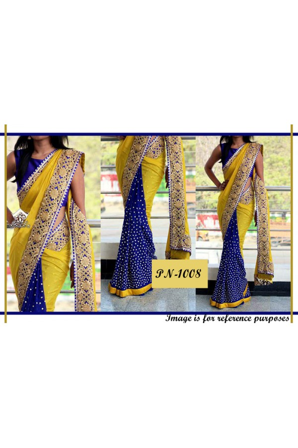 Bollywood Replica - Designer Yellow & Blue Georgette Saree - PN-1008