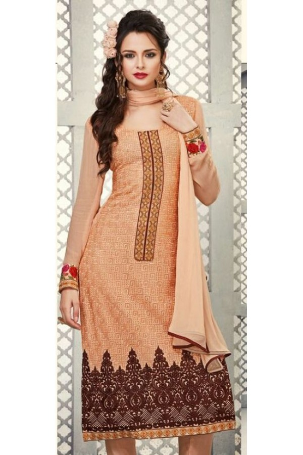 Party Wear Peach Georgette Salwar Suit - S-51