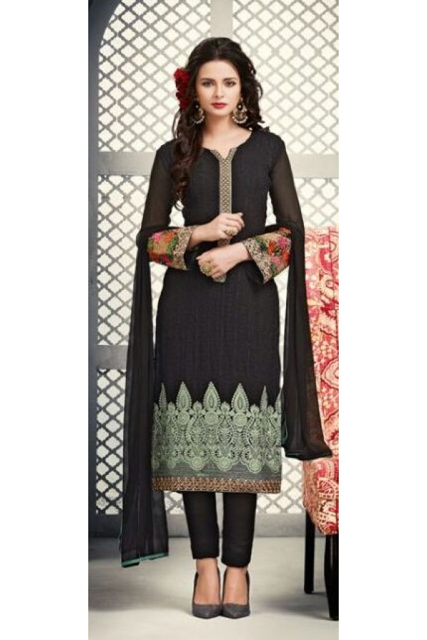 Office Wear Black Georgette Salwar Suit - S-53