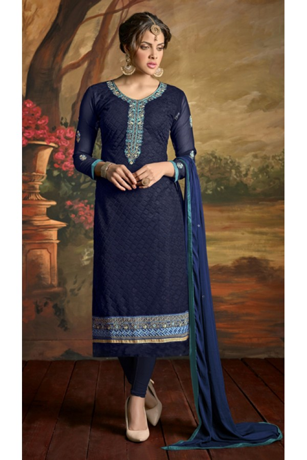 Party Wear Blue Georgette Churidar Suit - 3002