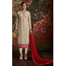 Ethnic Wear Beige & Red Georgette Salwar Suit - 3004