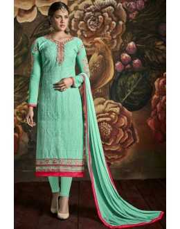 Party Wear Turquoise Georgette Churidar Suit - 3005