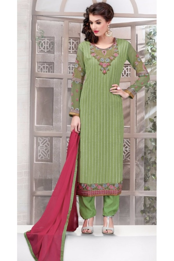 Office Wear Green & Maroon Georgette Salwar Suit - 2703