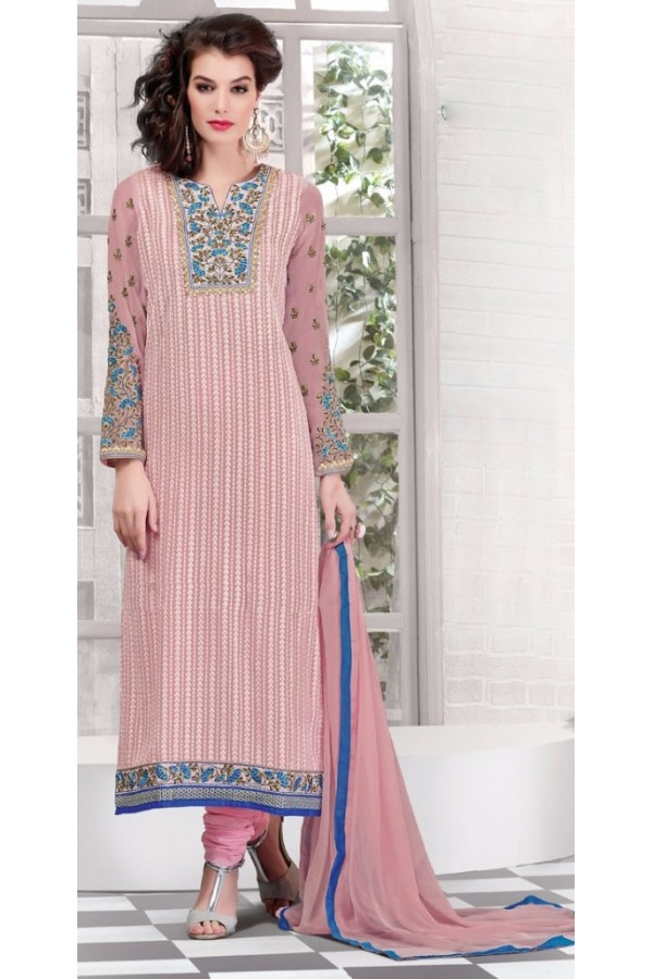 Ethnic Wear Pink Georgette Salwar Suit - 2701