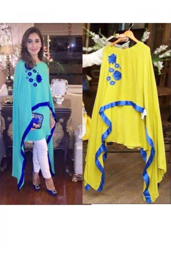 Party Wear Yellow Cotton Cape Dress- 1011-B