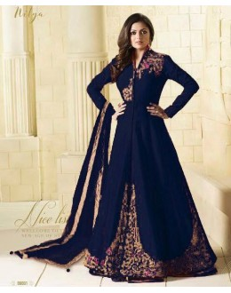 Wedding Wear Blue Tapeta Lehenga Suit  - 99003