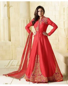 Festival Wear Red Tapeta Lehenga Suit  - 99001