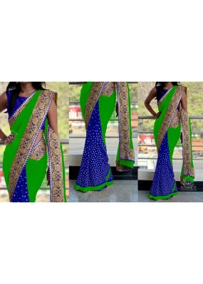 Bollywood Replica - Party Wear Green & Blue Saree - 1016-D