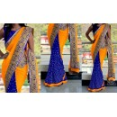 Bollywood Replica - Wedding Wear Yellow & Blue Saree - 1016-G