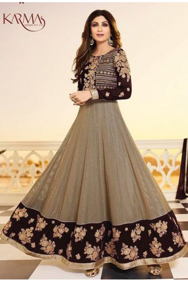 Shilpa Shetty Ethnic Wear Grey & Brown Anarkali Suit - 5405-B